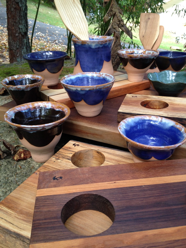 Serving boards & pottery