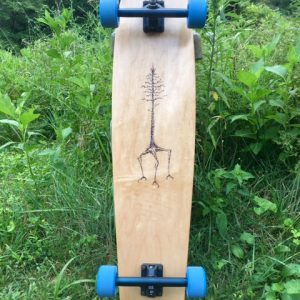 Custom designed double kicktail longboard