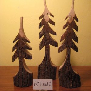 Custom carved set of black walnut trees #1