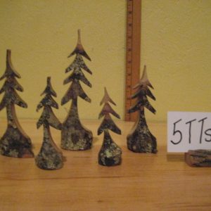 Itsy Bitsy Set of 5 Carved Trees #5TTset-3