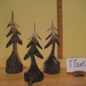 Set of 3 Tiny Carved Trees  #TTset-3