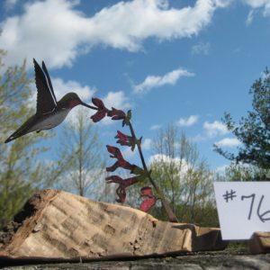 Metal hummingbird & salvia
