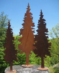 Rusty metal fir trees