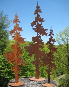 Rusty metal pine trees